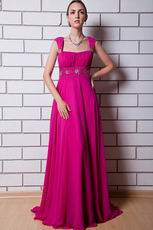 Beautiful Square Neck Magenta Rose Chiffon La Femme Prom Dress