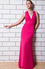 Sexy V-neck Fuchsia Chiffon Top Designer Prom Dress For Women