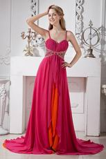 Spaghetti Straps Deep Pink And Orange Contrast Chiffon Prom Party Dress