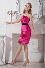 Buy Strapless Fuchsia Sweet 16 Dress With Black Sash