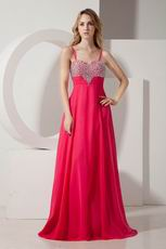 Beaded Spagetti Straps Deep Rose Pink Prom Dress For Sale Online