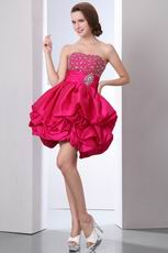 Cute Beading Decorate Short Carmine Cocktail Dress