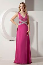 Backless V-neck Embroidery Ruby Evening Gowns