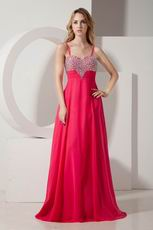 Cheap Spagetti Straps Rose Evening Dress For Sale