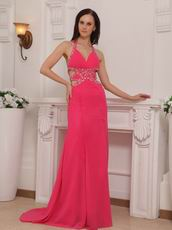 Backless Hot Pink Halter Cheap La Femme Prom Dresses Gowns