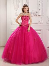 Bordure Strapless Winter Quinceanera Party Thick Dress In Fuchsia