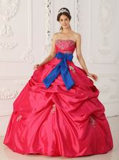 Sweetheart Blue Ribbon 2014 Quinceanera Dress With Beading