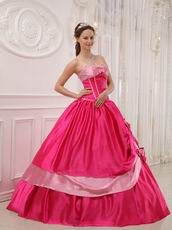 Designer Quinceanera Outfits Deep Pink Dress With Bowknot