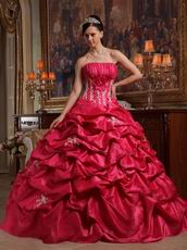 Strapless Coral Red Quinceanera Gown Online Shopping