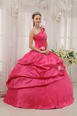 Fuchsia 2014 Top Quinceanera Dress With One Shoulder Skirt