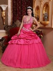 Applique Halter Floor-length Deep Pink La Quinceanera Dresses