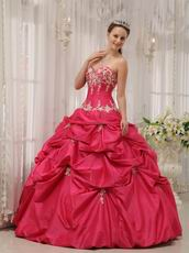 Fuchsia Appliqued Quinceanera Dress Sweetheart Neckline