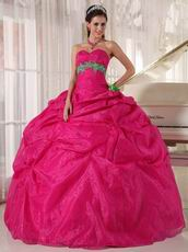 Spring Green Flower Decorate Deep Pink Quinceanera Girls Dress