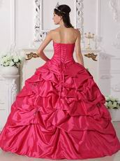 Deep Rose Pink Beading Emberllish Quinceanera Dress