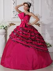 Quality Rose Pink Printed Zebra Fabric Quinceanera Dress