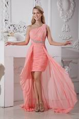 Custom Beaded Asymmetrical Pink Chiffon Graduation Dress