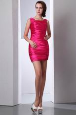 Cute Square Mini Fuchsia Dress For Graduation Ceremony