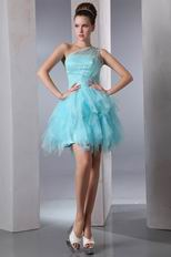 Cute One Shoulder Cascade Skirt Aqua Graduation Dress