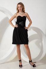 Black Chiffon Graduation Dress With Feather Decorate