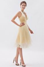 Halter Ruched A-line Daffodil Short Dress For Party