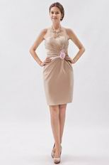 Champagne Mini Graduation Dress With Pink Flower