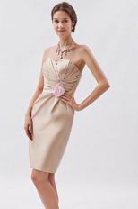 Champagne Mini Graduation Dress With Pink Flower