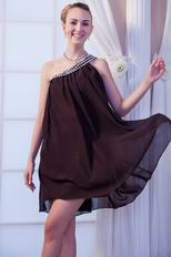 One Shoulder Crystals Brown Chiffon Short Graduation Dress