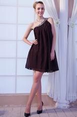 One Shoulder Crystals Brown Chiffon Short Graduation Dress
