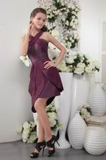 High Low Purple Chiffon Graduation Dress For Cheap