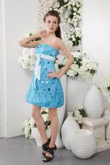 Sky Blue Strapless Short Tulle Graduation Dress With Sequin