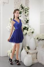 Royal Blue V-neck Designer Graduation Dress Low Price