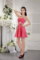 One Shoulder Coral Red Graduation Mini Dress