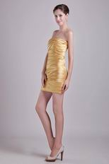 Golden Strapless Short 2014 Design Graduation Dress