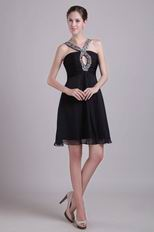 Sexy V-neck Beaded Black Dress to Wear For Graduation