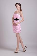 Pink Mini-length Layers Skirt Graduation Dress With Black Sash