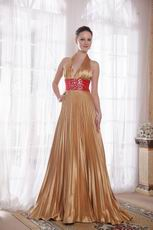 Halter Top Golden Evening Dress For Women Wear