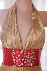 Halter Top Golden Evening Dress For Women Wear