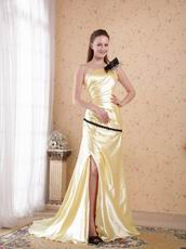Golden Floor-length One Shoulder Side Split Evening Dress