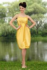 Pretty Spaghetti Straps Golden Yellow Short Homecoming Dress