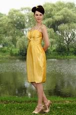 Pretty Spaghetti Straps Golden Yellow Short Homecoming Dress