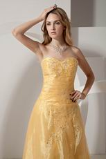 Strapless Embroidery Yellow Floor Length Evening Dress