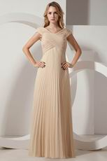 Inexpensive V-neck Floor Length Champagne Pleated Prom Dress