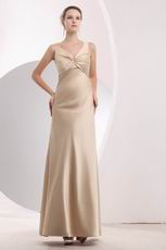 Criss Cross V-Neck Champagne Evening Dress For Cheap