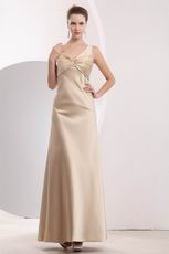 Criss Cross V-Neck Champagne Evening Dress For Cheap