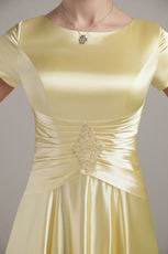 Gold Scoop Short Sleeves Mother Of The Bride Dress Discount