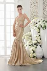 Straps Cross Back Mermaid Champagne Exclusive Prom Dress