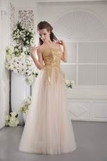 Unique Tulle Fabric Sequined Champagne Evening Dress