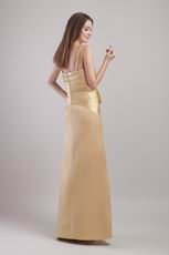 Floor-length Gold Spaghetti Strap Prom Dress In South Carolina