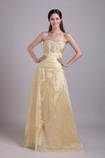 Sweetheart A-line Champange Embroidery Evening Dress