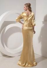 3/4 Sleeves Golden Mother Of The Bride Dress By Designer